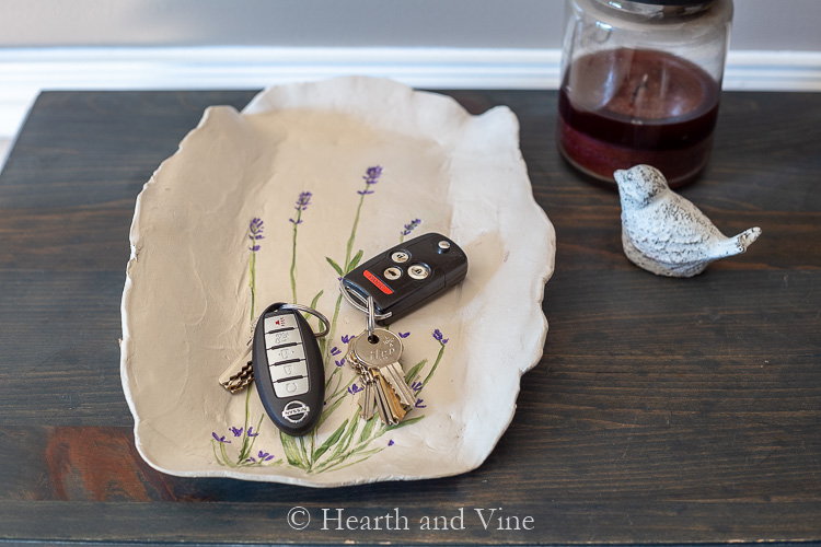 Handmade Floral Clay Tray on table