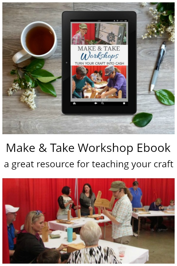 Make and take workshop photos of classes and ebook