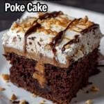 Slice of chocolate peanut butter poke cake