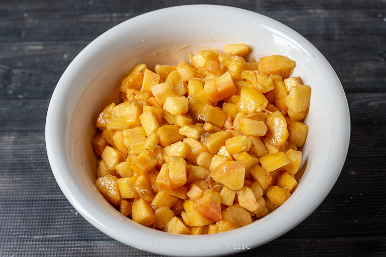 Peeled and diced peaches
