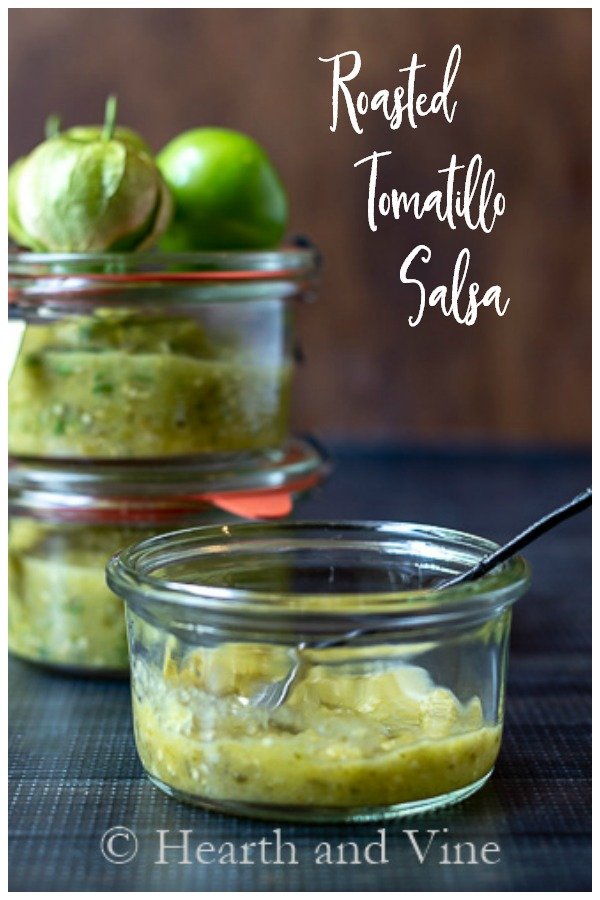 Jars of roasted tomatillo salsa