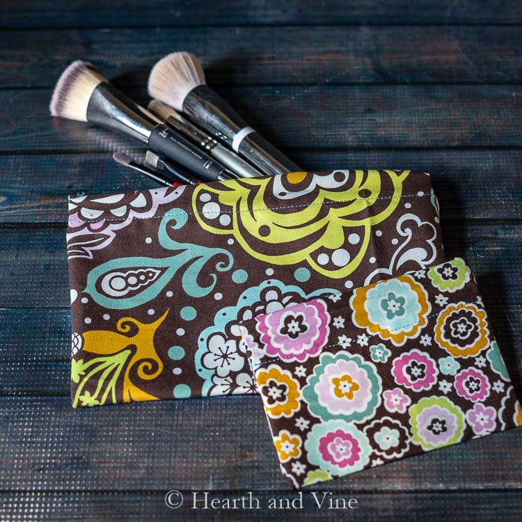 Snap bags with makeup brushes