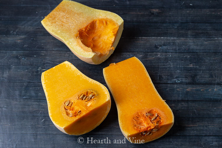 Fresh butternut squash cut in half lengthwise