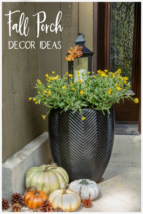 Fall planter with yellow calendula flowers