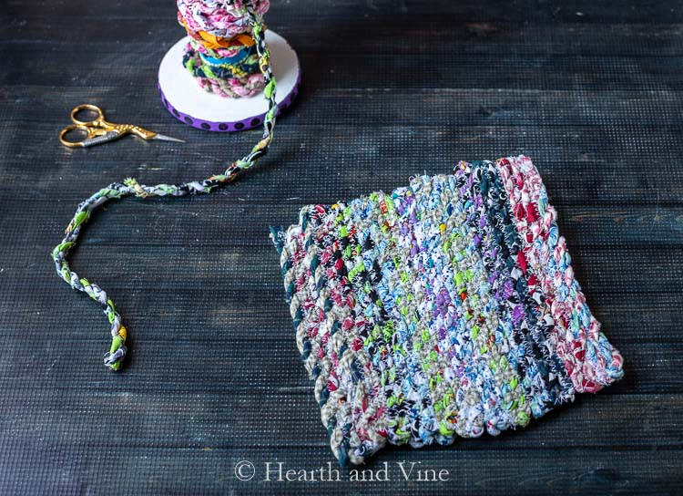 Fabric twine spool and potholders