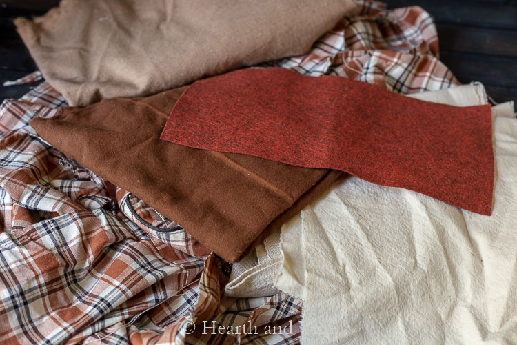 Fabric in fall colors and soft textures