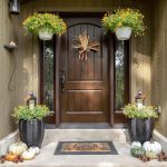 Fall decor with flowers and gourds