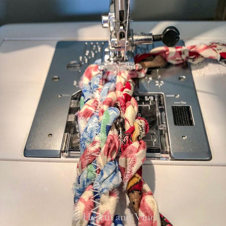 Fabric twine zig zag stitch