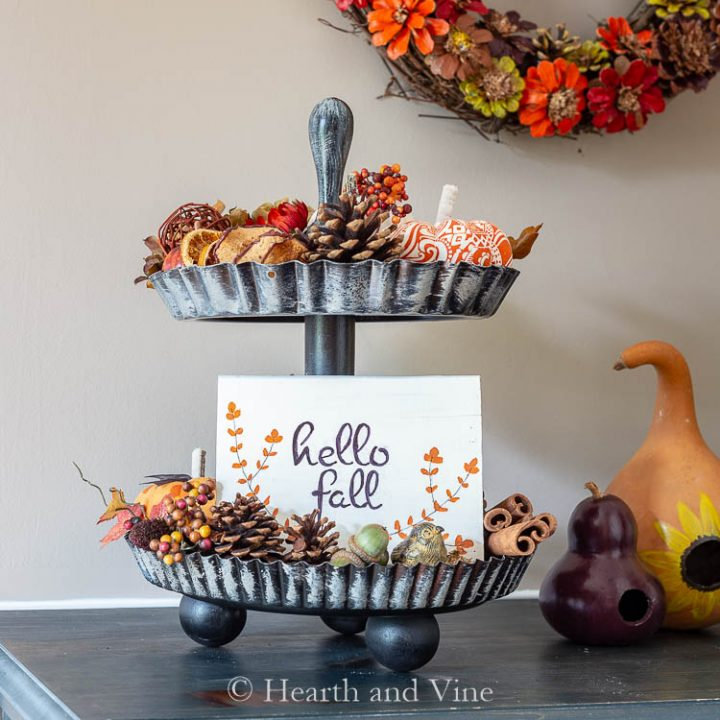 Two tiered tray DIY
