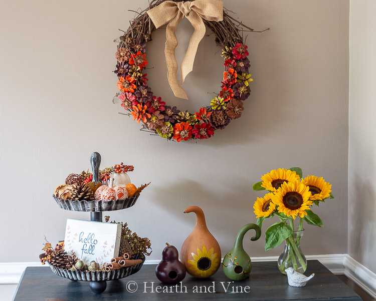 Fall decor on foyer table