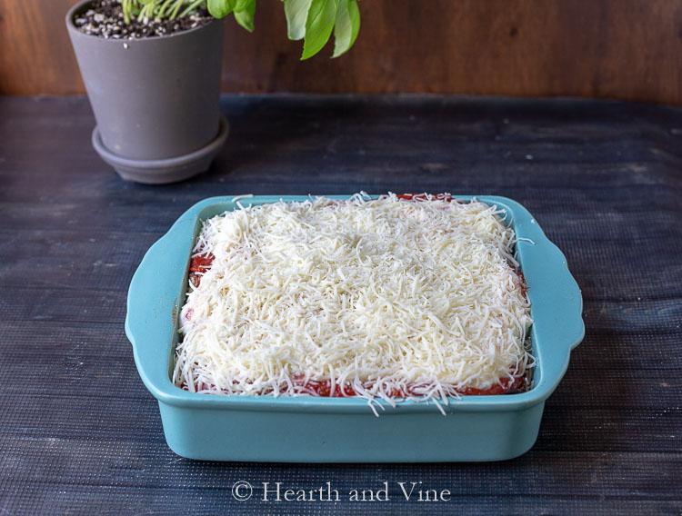 Uncooked eggplant lasagna