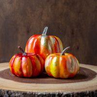Red and orange alcohol ink pumpkins