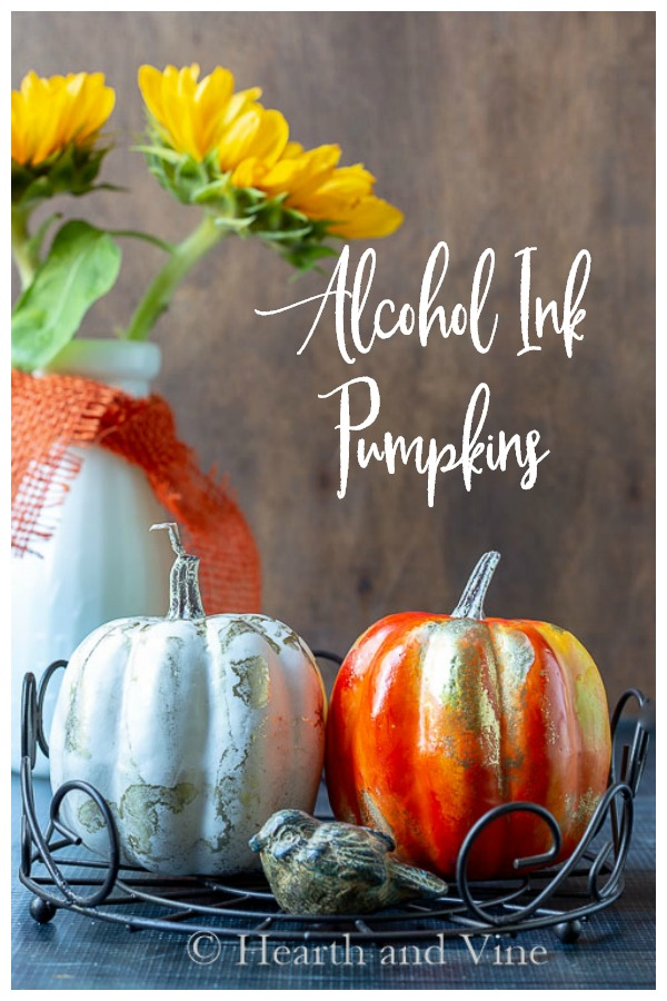 Alcohol Ink pumpkins and sun flowers