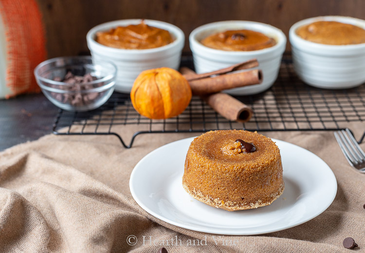 Pumpkin spice lave cakes on cooking rack