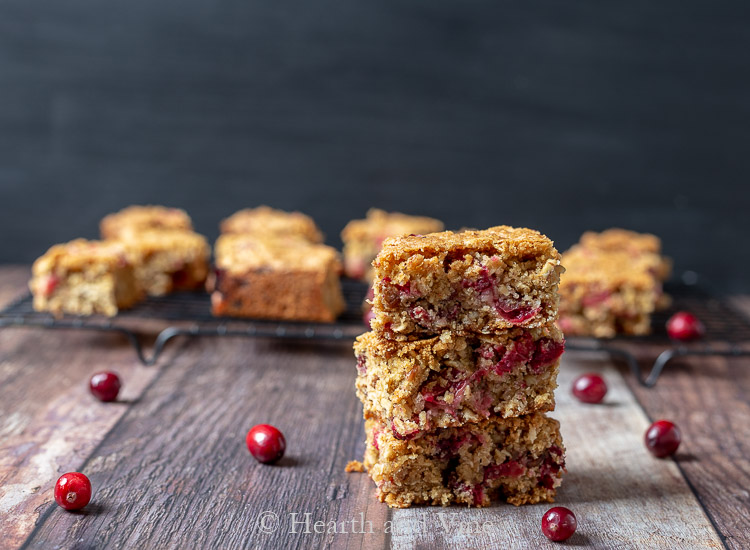 Cranberry oatmeal bars stack