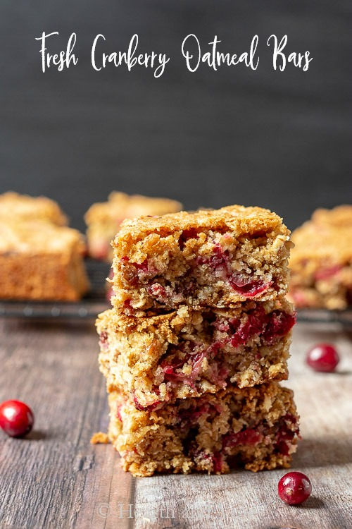 Stack of three cranberry oatmeal blondies