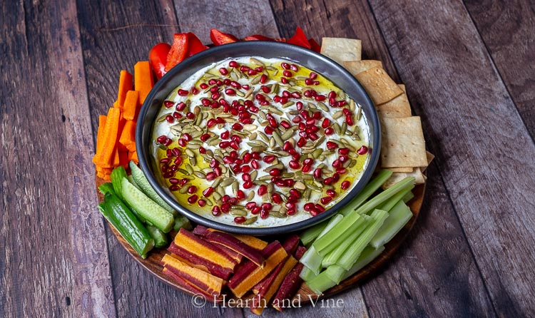 Goat cheese dip with veggies