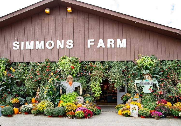 Front of Simmons farm in fall