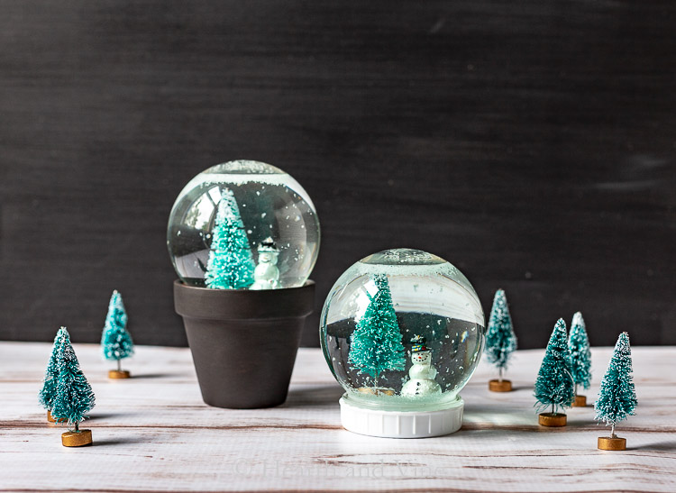 Snow globes and mini trees