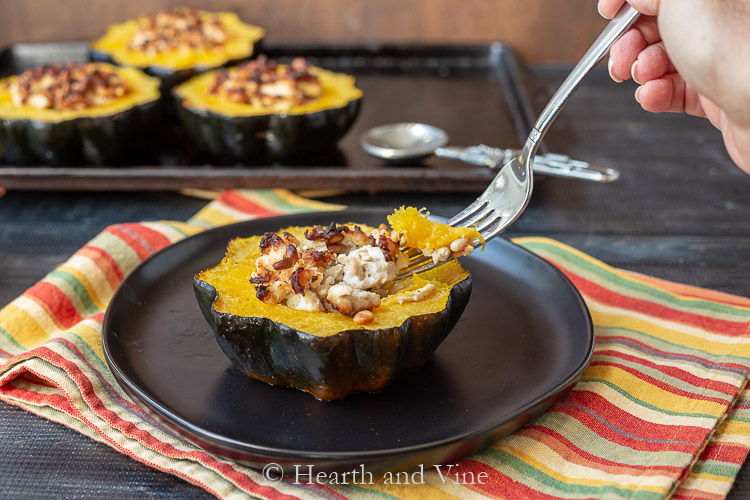 Stuffed acorn squash forkful