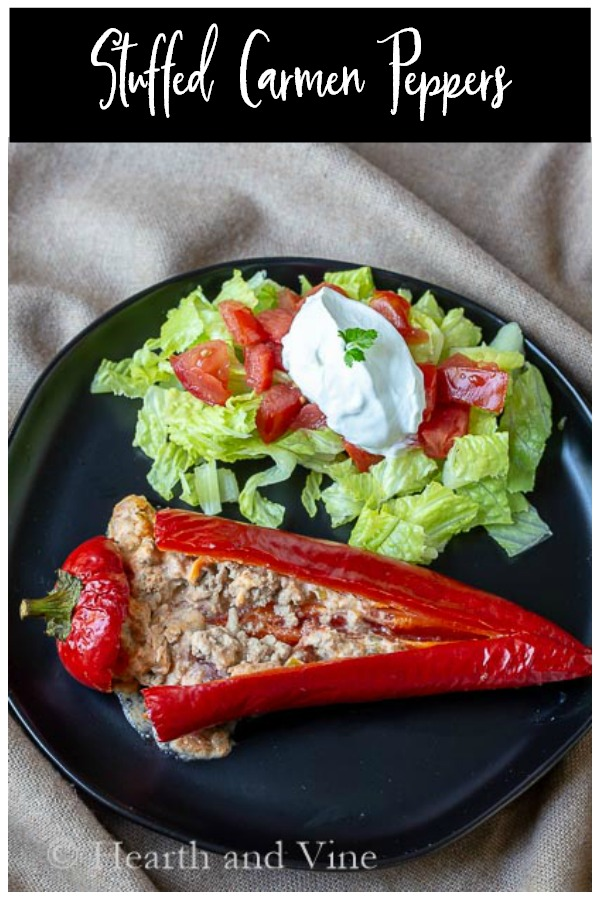 Plated stuffed carmen pepper