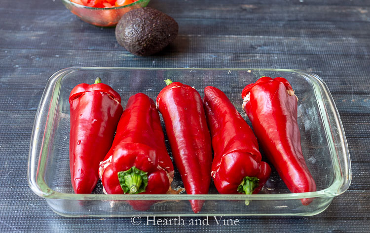 Stuffed Carmen peppers in glass baking dish