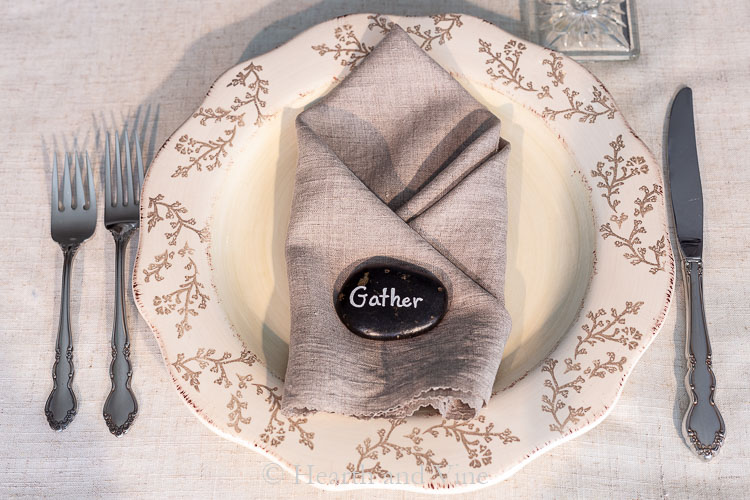 Thanksgiving word stone on napkin place setting