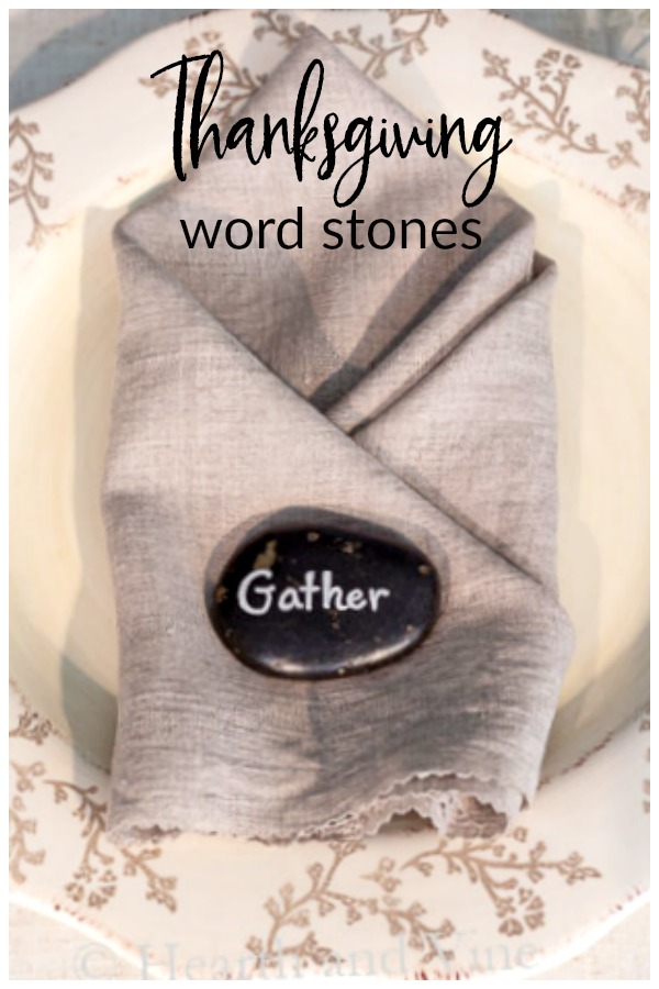 Thanksgiving DIY word stones on linen napkin place setting