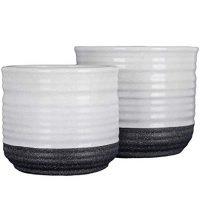 Black and White Speckled Ceramic Planter Set