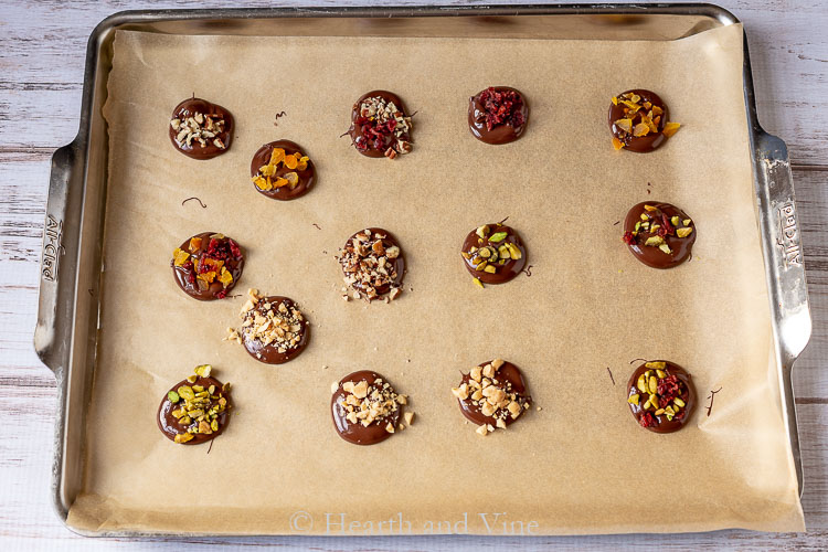 Chocolate drops with nuts and dried fruit