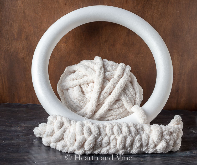 Finger knit yarn and foam wreath base