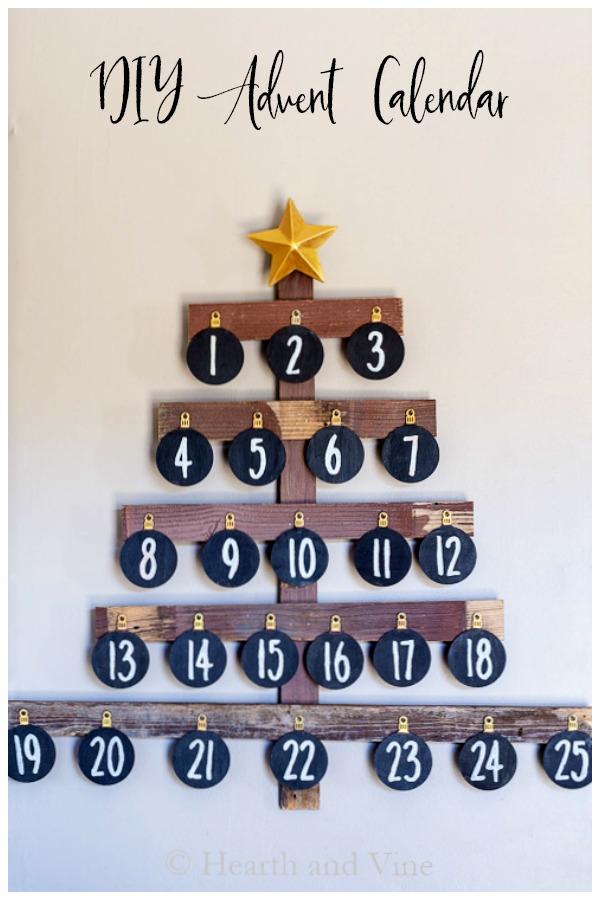 Vintage wooden tree advent calendar
