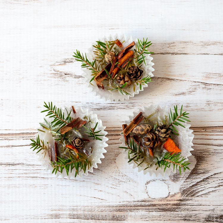 Trio of scented fire starters