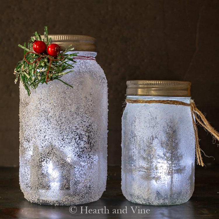 Lighted mason jar luminaries