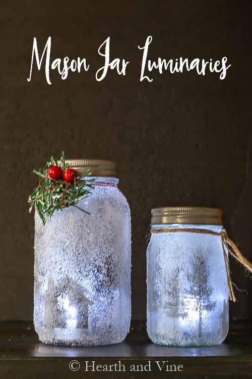 Mason jar lunminaries glowing in dark
