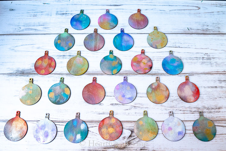Distress spray ink on wooden ball ornaments