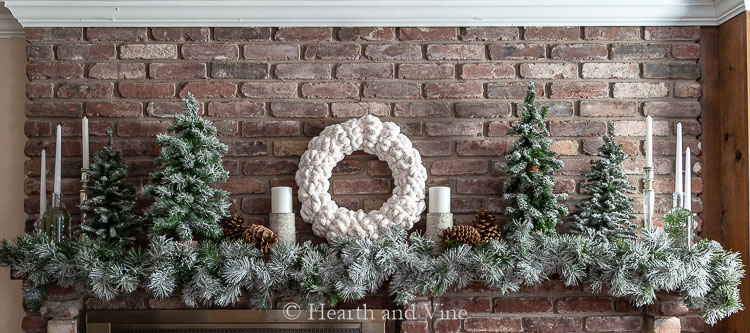 full white Christmas mantel