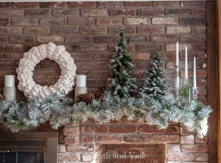 Right side of white Christmas mantel