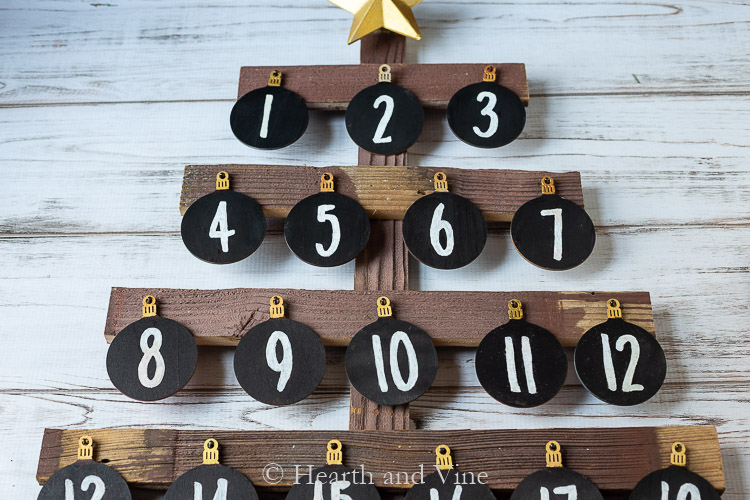 Chalkboard ornaments with numbers