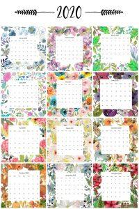 Portrait version of the 2020 floral calendar by month