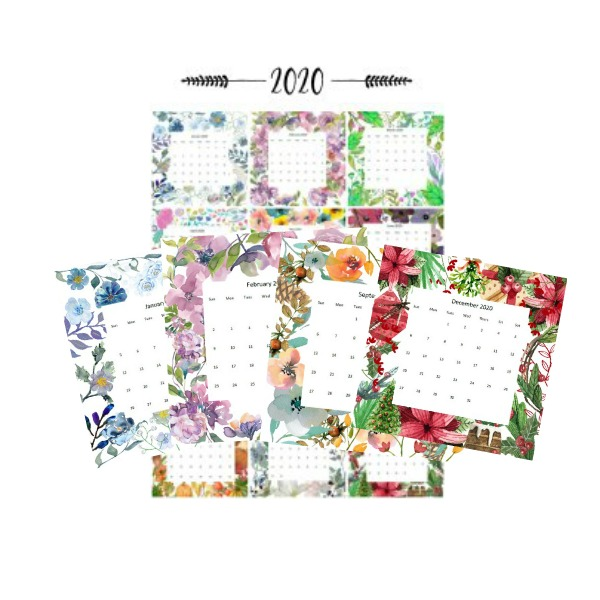 2020 Watercolor Printable Calendars by Month