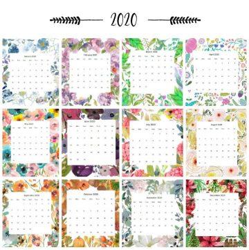 2020 floral calendar 12 months