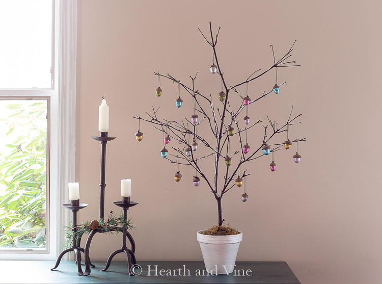 DIY branch Christmas tree with acorn ornaments
