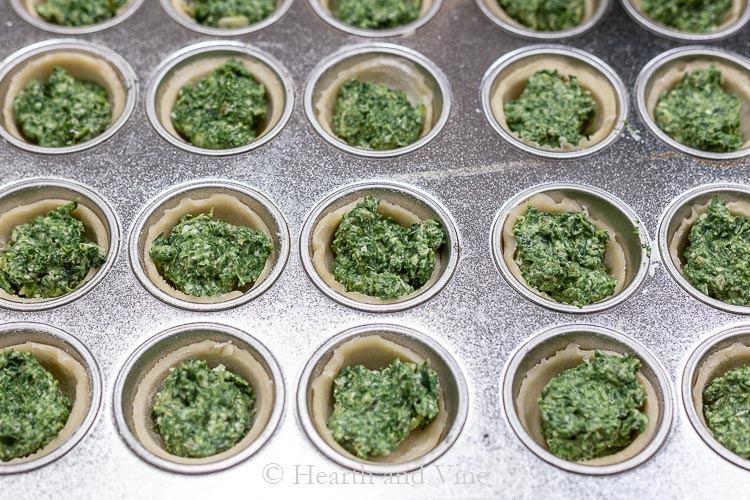Mni muffin tin with dough cups filled with cheesy spinach filling