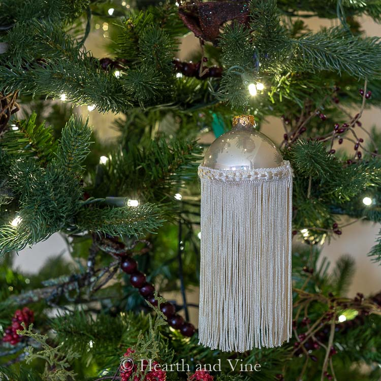 Fringe ornament on tree
