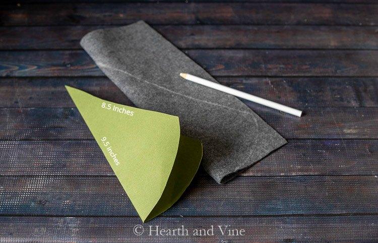 Cone traced onto felt