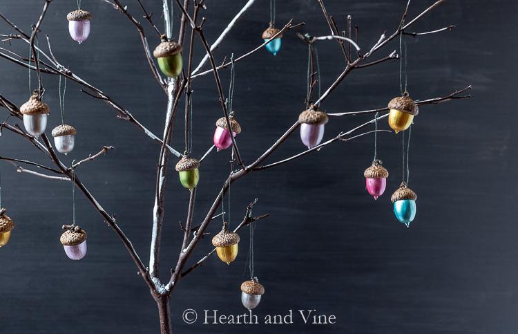 Metallic acorns on branch tree