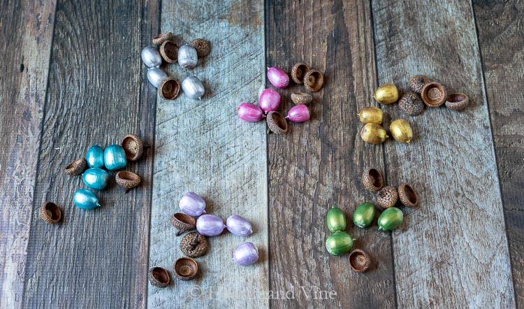 Metallic painted acorns