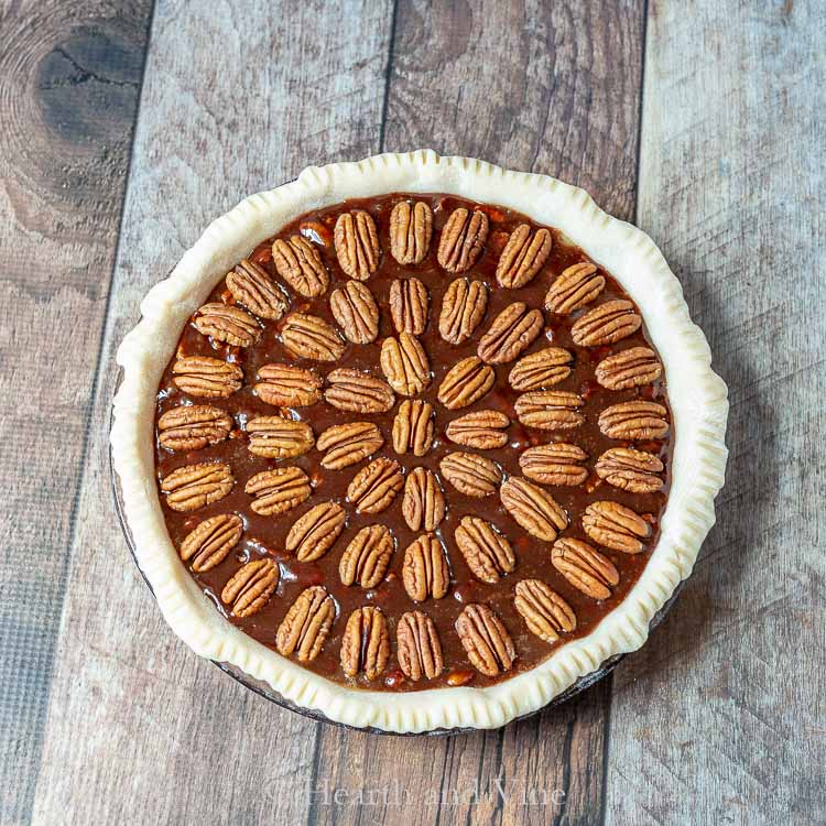 Uncooked chocolate pecan pie