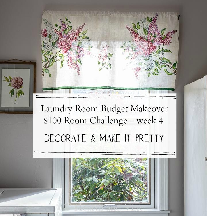 Laundry room window with text explaining week 4 of the makeover